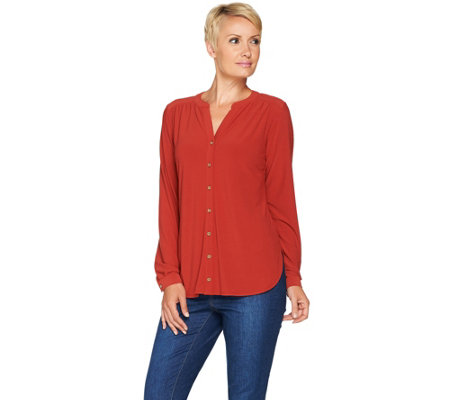 Susan Graver Textured Liquid Knit Y-Neck Button Front Shirt