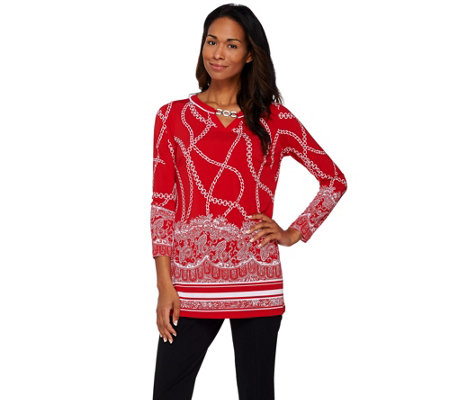 """As Is"" Susan Graver Printed Liquid Knit Long Sleeve Tunic w/Keyhole"