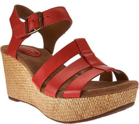 """As Is"" Clarks Artisan Leather Multi-Strap Wedges - Caslynn Harp"