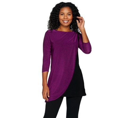 Attitudes by Renee 3/4 Sleeve Overlay Melange Knit Tunic