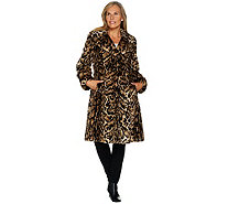 Dennis Basso Platinum Collection Faux Fur Knee Length Coat - A284858