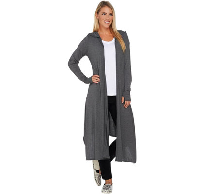 Peace Love World Jersey Knit Hooded Maxi Cardigan - Page 1 — QVC.com