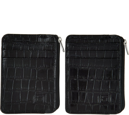 ID Stronghold RFID Set of 2 Croco Minis with Zipper