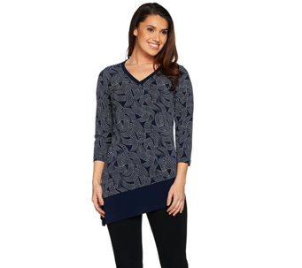 Susan Graver Printed Liquid Knit Asymmetrical Hem Top - A286558