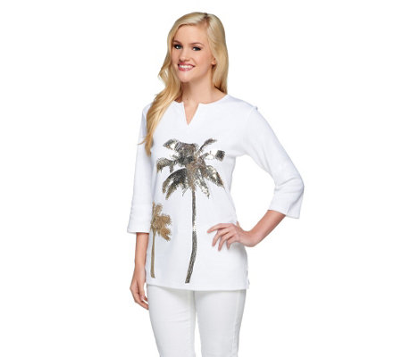 """As Is"" Quacker Factory Split Neck 3/4 Sleeve Golden Palm Tree Tunic"