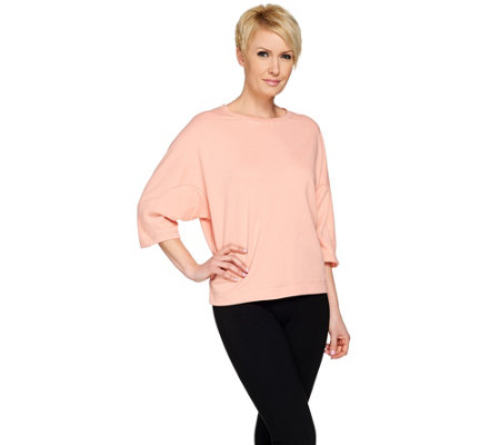 """As Is"" H by Halston French Terry Top with 3/4 Dolman Sleeves"