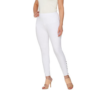 """As Is"" Susan Graver Weekend Cotton Spandex Crop Leggings Button Detail - A287358"