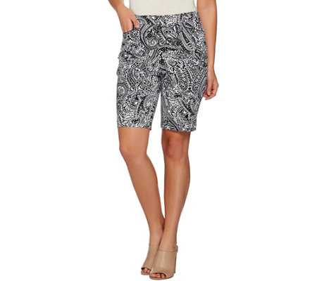 """As Is"" Susan Graver Printed Stretch Cotton Zip Front Bermuda Shorts"