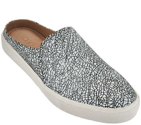 """As Is"" LOGO by Lori Goldstein Slip-On Printed Sneakers with Open Back"
