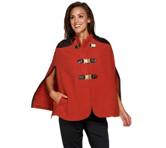 """As Is"" G.I.L.I Buckle Front Cape with Faux Leather Trim - A289258"