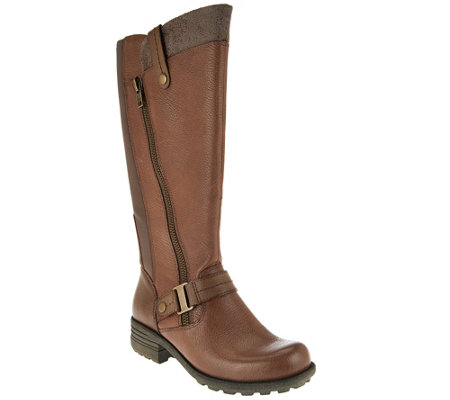 """As Is"" Earth Origins Leather Medium Calf Tall Boots - Portia"