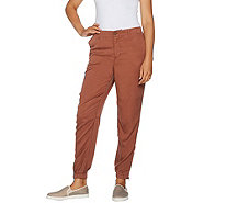 LOGO by Lori Goldstein Woven Tencel Pants with Zipper Detail - A290258