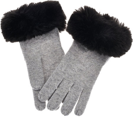 """As Is"" Isaac Mizrahi Live! 2-Ply Cashmere Gloves w/ Faux Fur Trim"