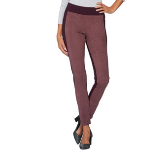 """As Is"" LOGO by Lori Goldstein Ponte Knit Pants w/Faux Suede Panels - A293258"
