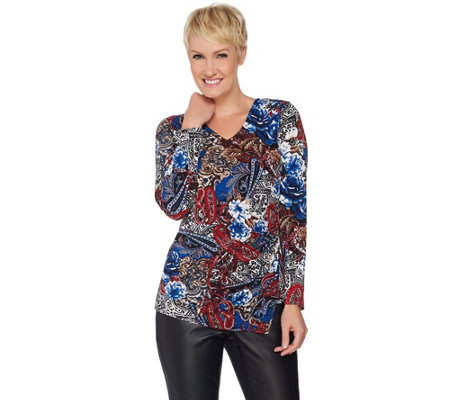 """As Is"" Susan Graver Printed Liquid Knit Top with Side Zipper"