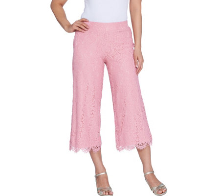 Isaac Mizrahi Live! Regular Lace Culotte Pants with Scallop Hem