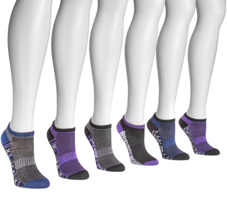 MUK LUKS Women's 6 Pair Pack No Show Compression Arch Socks