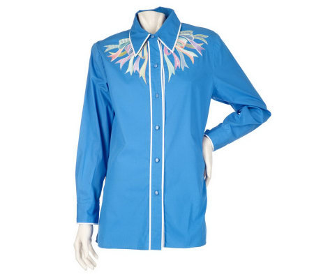 Bob Mackie's Button Front Shirt w/ Ribbon Embroidery