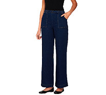 "Denim & Co. ""How Timeless"" Petite Stretch Denim Pull-On Jeans - A69558"