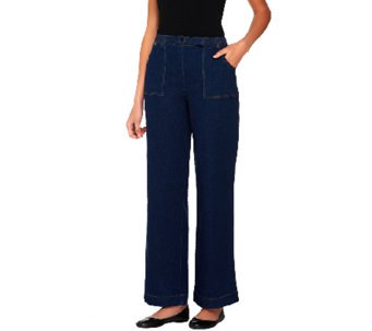"Denim & Co. ""How Timeless"" Petite Stretch Denim Pull-On Pants - A69558"