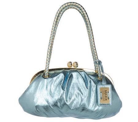 Maxx New York Metallic Frame Bag With Kiss Lock Closure