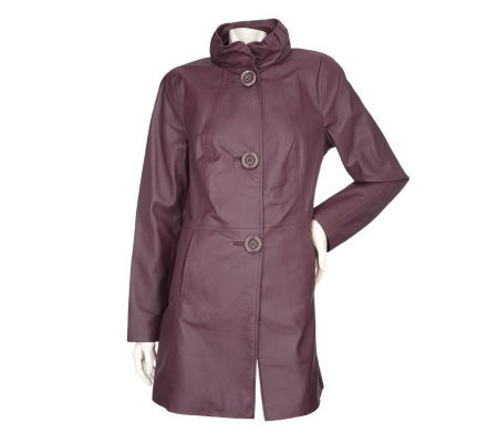 Bradley by Bradley Bayou Lamb Touch Leather A-line Coat