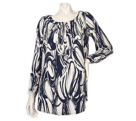 Susan Graver Printed Challis Tunic Top with Rhinestone Buttons