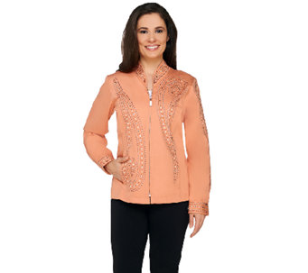 Bob Mackie's Zip Front Jacket with Stud Detail - A213859
