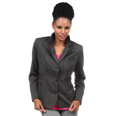 Isaac Mizrahi Live! 3-Button Blazer with Patch Pockets