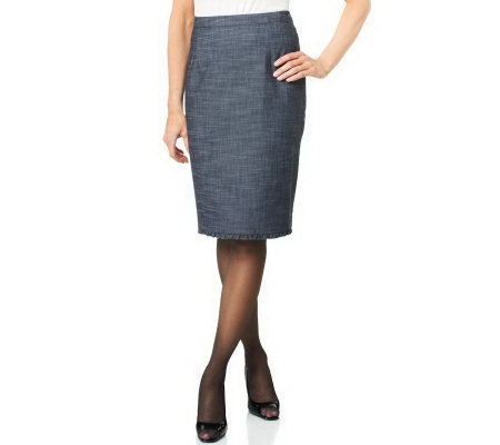 Joan Rivers Petite Length Ruffle Trim Slim Skirt