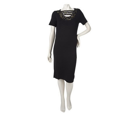 Linea by Louis Dell'Olio Knit Dress with Bead Detail