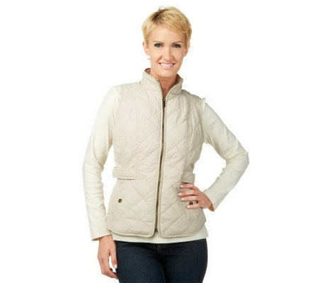 Liz Claiborne New York Quilted Vest with Snap Pockets