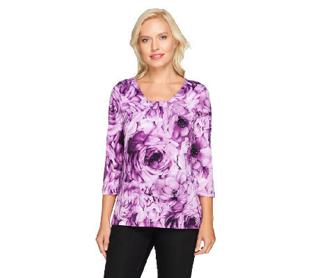 Susan Graver Floral Printed Liquid Knit Scoop Neck Top