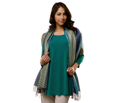 Susan Graver Liquid Knit 3/4 Sleeve Tunic with Jacquard Wrap
