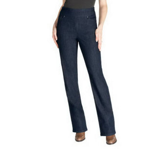 "Denim & Co. ""How Smooth"" Modern Waist Petite Pull-On Jeans - A230659"