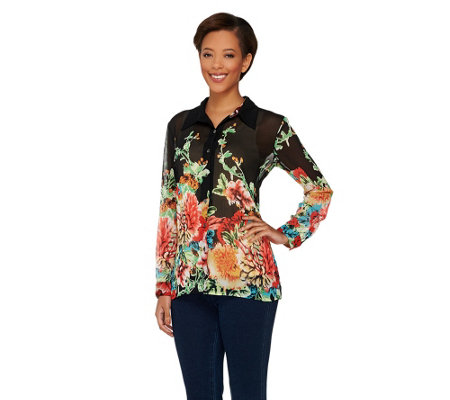 Susan Graver Crinkle Sheer Chiffon Border Print Button Front Shirt