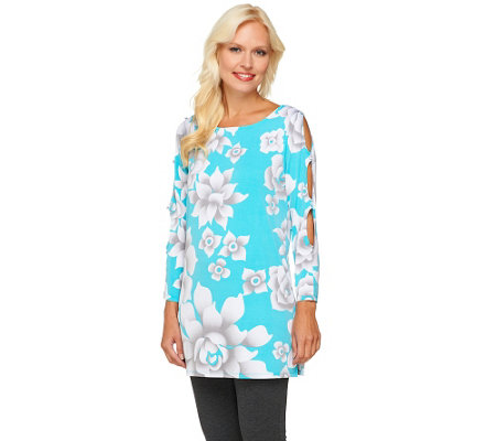 Bob Mackie's Scoop Neck Flower Print Tunic w/ Sleeve Cut-Out Detail