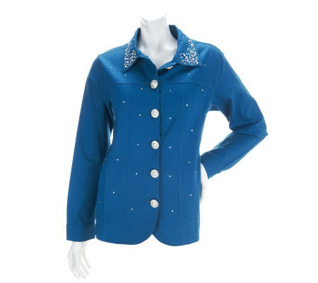 Quacker Factory Simulated Pearl and Stone Stretch Jacket