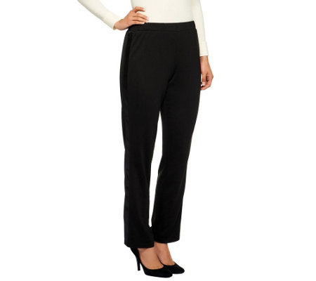 Joan Rivers Regular Ponte Knit Pull-on Tuxedo Pants