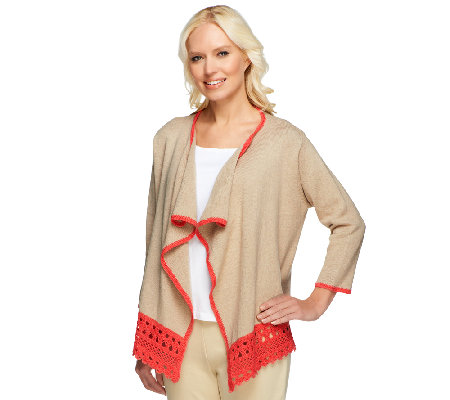 Liz Claiborne New York Open Front Cardigan with Crochet Trim