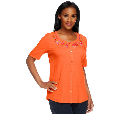 Denim & Co. Button Front Gauze Top with Floral Embroidery