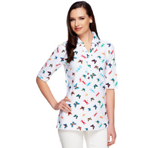 Susan Graver Weekend Printed Stretch Cotton Elbow Sleeve Polo Shirt - A253259