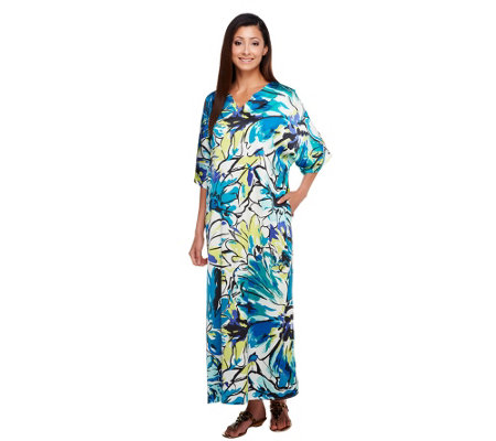 Joan Rivers Regular Silkly Floral Print Caftan