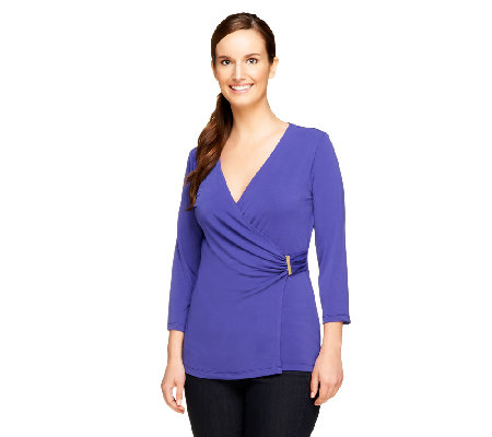 Susan Graver Solid Liquid Knit 3/4 Sleeve Surplice Wrap Top