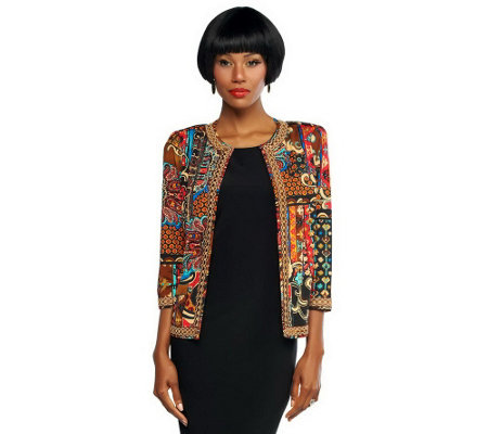"""As Is"" Joan Rivers Moroccan Flair Jacket with 3/4 Sleeves"