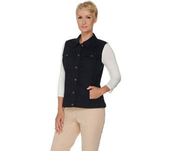 Denim & Co. Stretch Denim Button Front Vest with Pockets - A257359