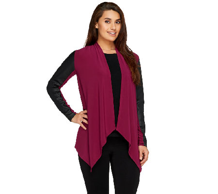 Joan Rivers Luxe Knit Draped Cardigan w/ Faux Leather Sleeves