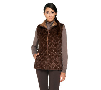Joan Rivers Reversible Faux Fur Vest with Sequin Detail - A258559