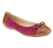 """As Is"" Isaac Mizrahi Live! Suede Ballet Flats with Bow - A258859"