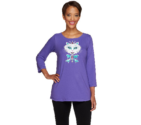 Bob Mackie's Embellished Kitty Kat Knit Top